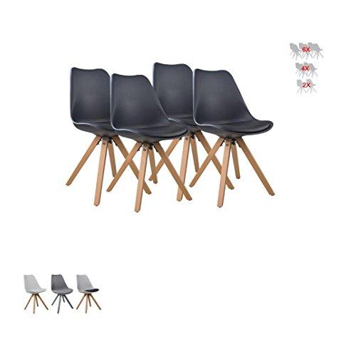 i-flair Set Esszimmerstuhl/Sessel/Küchenstuhl aus Holz mit Sitzschale + Sitzkissen aus Kunstleder (Weiß/Schwarz/Grau/Schwarz - Weiß) (4, Schwarz)
