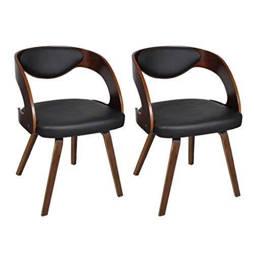 vidaXL 2 x Ledermixstühle Ledermix Stuhl Stühle Sessel Esszimmerstühle Sperrholz