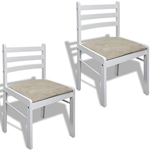 vidaXL 2x Holzstuhl Holz Weiß Viereckig Esszimmerstuhl Küchenstuhl Essstuhl