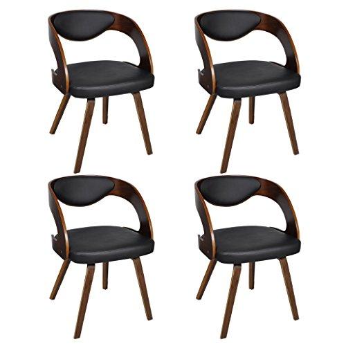 vidaXL 4 x Lederstühle Lederstuhl Stühle Sessel Esszimmerstühle Sperrholz braun