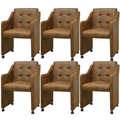 vidaXL 6x Esszimmerstuhl mit Rollen Braun Stuhlgruppe Küchenstuhl Sessel