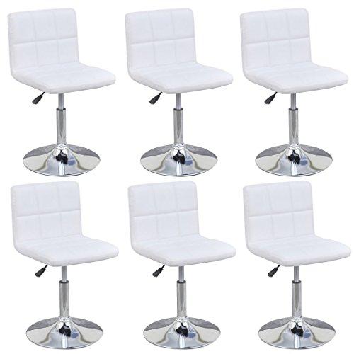 vidaXL 6x Küchenstuhl Höhenverstellbar Weiß Esszimmerstuhl Drehstuhl Essstuhl