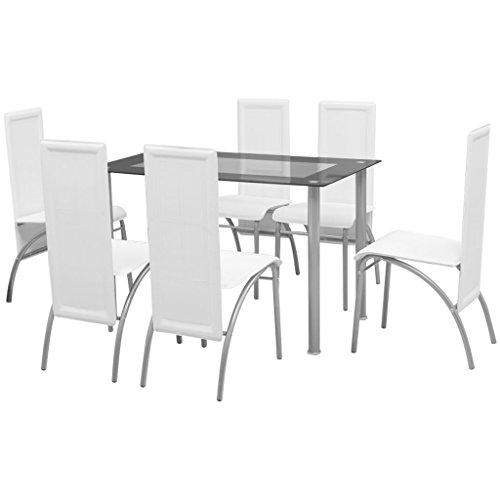 vidaXL 7tlg. Sitzgruppe Essgruppe Esstisch Esszimmerstuhl Küchenstuhl Hochlehner