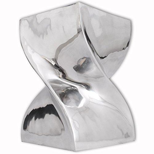 vidaXL Aluminium Hocker Beistelltisch Couchtisch Wohnzimmer Twist Design Silbern