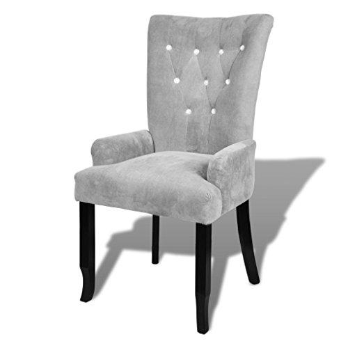 vidaXL Armlehnsessel Relaxsessel Sessel mit Holzrahmen Samt-Silbern