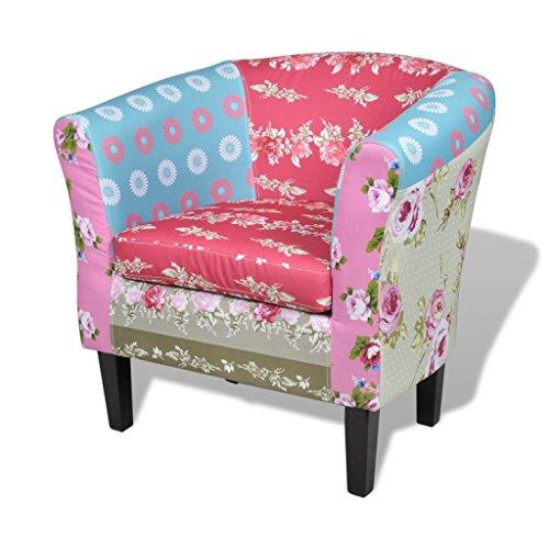 vidaXL Französischer Sessel mit Patchwork-Design Stoff Bunt