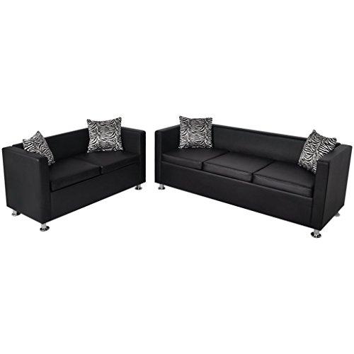 vidaXL Sofa Set 3-Sitzer 2-Sitzer Kunstledersofa Loungesofa Couch Kissen Schwarz