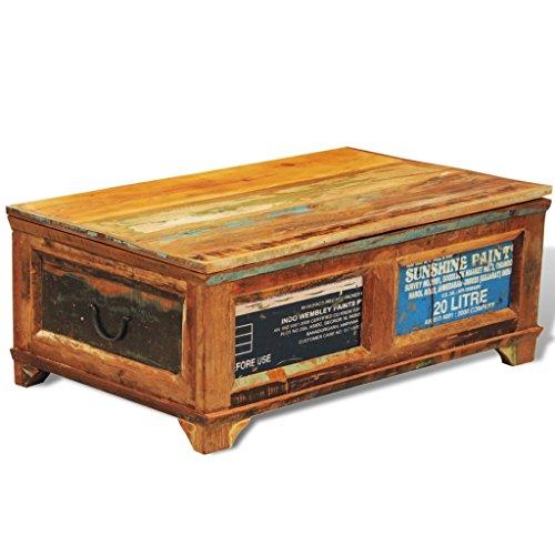 vidaXL Teak Massivholz Antik Aufbewahrung Box Couchtisch Truhe Shabby Vintage