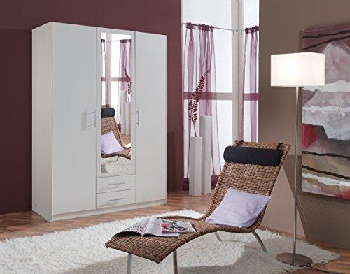 Dreams4Home Drehtürenschrank 'Isa VI', Schlafzimmer, Schrank, weiß, Kleiderschrank, 1 Spiegel, Spiegelschrank