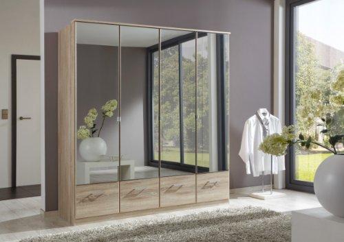 Dreams4Home Kleiderschrank ' Kian II ', mit Spiegeltüren, in Eiche-Sägerau,Schlafzimmereinrichtung, Spiegelschrank, Ausführung:mit Wäscheeinteilung