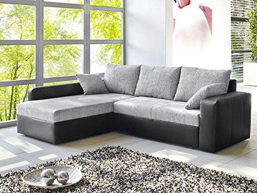 Ecksofa Vida 244x174cm grau schwarz Couch Sofa Wohnlandschaft Polsterecke