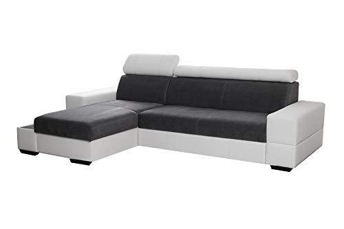 Ecksofa mit Schlaffunktion Eckcouch mit zwei Bettkasten Sofa Couch Wohnlandschaft L-Form Polsterecke CAPRI (Ecksofa Links, Grau)