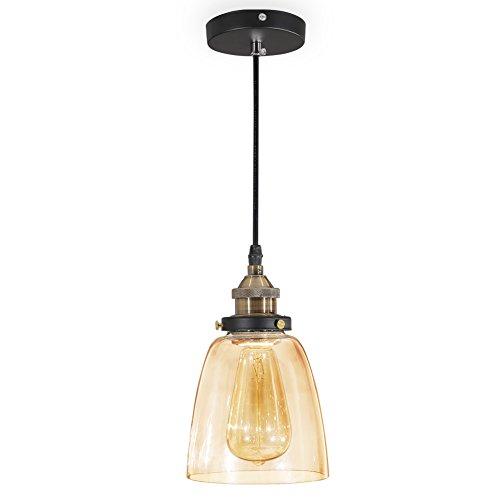 ISWEES Retro Klassische Kronleuchter Pendelleuchten Hängende Lampen Deckenbeleuchtung Hängeleuchte E27 (Ohne Birne) 40 Wat Ø13.5cm (5.3inch) - Bernstein (Leuchtmittel nicht im Lieferumfang enthalten)