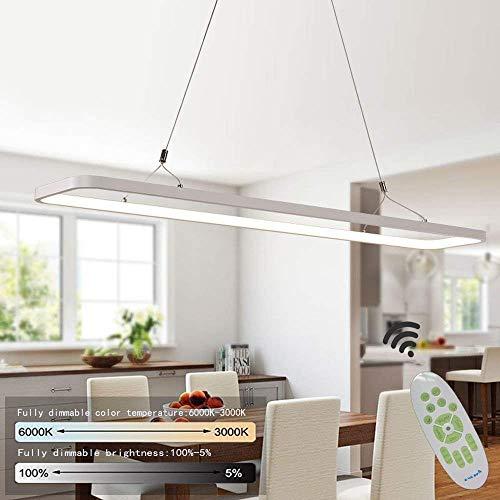 LED Pendelleuchte büro Hängelampe Hängeleuchte Dimmbar büro pendelleuchte höhenverstellbar aus PVC Pendellampe für Wohnzimmer Esszimmer Restaurant Büro Arbeitszimmer, 48 W,1200 x 200x 20MM
