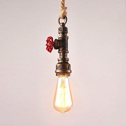 Loft Vintage Edison Pendelleuchten SYAODU Hanf Seil Personalisierte DIY Bar Beleuchtung Industrial Vintage Wasser Rohr Pendelleuchte E27 Antique Lamps (Braun)