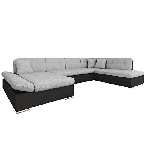 Mirjan24 Ecksofa Bergen Design Eckcouch mit Schlaffunktion und Bettkasten, Regulierbare Armlehnen, U-Form Sofa vom Hersteller, Wohnlandschaft (Soft 011 + Bristol 2460, Ecksofa: Links)