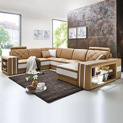 Polsterecke Bellucci mit Beleuchtung Farbwahl Wohnlandschaft Polsterecke Couchgarnitur Echtleder mit Kunstleder (Ausrichtung Normal)