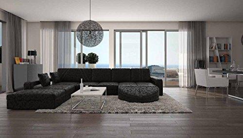 SalesFever Wohn-Landschaft XXL mit Bezug aus Microfaser 335x220 cm L-Form schwarz | Duragani | Designer Couch-Garnitur mit Ottomane Links | XXL Sofa für Wohnzimmer schwarz 335cm x 220cm