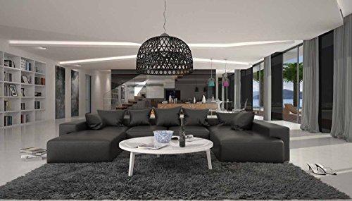 SalesFever Wohn-Landschaft XXL mit Kunstleder Bezug 405x255 cm U-Form schwarz | Leesha | Moderne Sofa-Garnitur mit 2 Recamieren | XXL-Couch für Wohnzimmer schwarz 405cm x 255cm