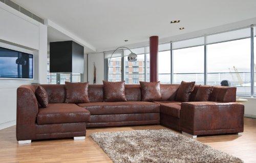 Sofa Couchgarnitur Couch Sofagarnitur Orlando BIS in Gobi 04 mit Schlaffunktion U Polstergarnitur Polsterecke Wohnlandschaft mit Schlaffunktion