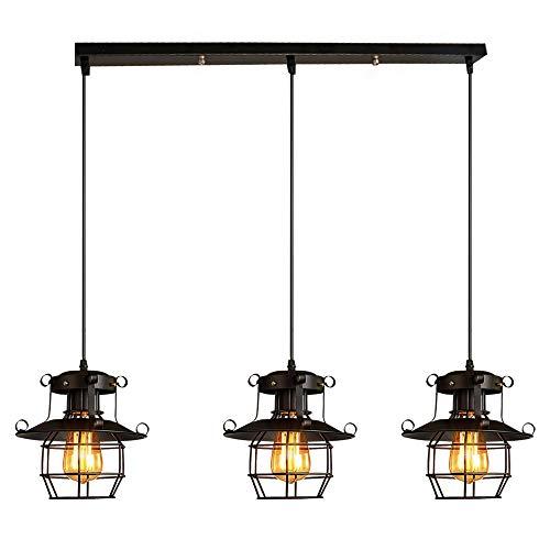 Vintage LED Pendellampe Industrielle retro Hängeleuchte mit schwarz Eisen Lampenschirm und E27 LED-Glühbirne enthalten höhenverstellbar