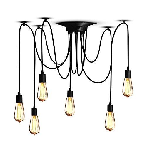 Vintage Pendelleuchte, E27 (6-Flammig,1.2M,Glühbirne nicht inbegriffen) Retro Industrielle Deckenleuchte höhenverstellbar Hängeleuchte mit 6-adrigem Textilkabel DIY Lampe Ideal für Nostalgie und Retro Beleuchtung