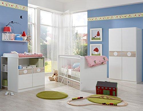 Wimex Babyzimmer Set Kimba, bestehend aus Kleiderschrank, Babybett und Wickelkommode, Liegefläche 70x140 cm, Weiß