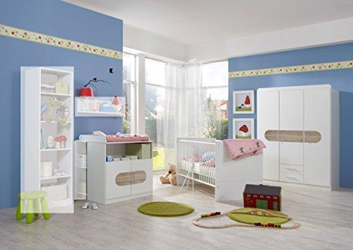 Wimex Babyzimmer Set Lilly, Bestehend aus Kleiderschrank, Babybett und Wickelkommode, Liegefläche 70x140 cm, Weiß