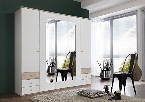 Wimex Kleiderschrank/ Drehtürenschrank Bergen, 5 Türen, 6 Schubladen, 3 Spiegel, (B/H/T) 225 x 210 x 58 cm, Weiß