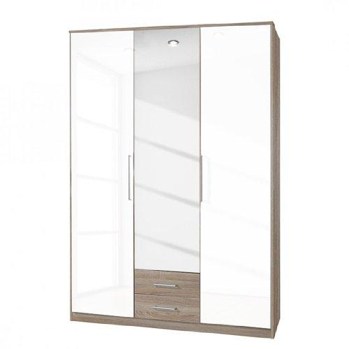 Wimex Kleiderschrank/ Drehtürenschrank Greven, 2 Türen, (B/H/T) 90 x 199 x 58 cm, Lack Weiß/ Absetzung Eiche Sägerau