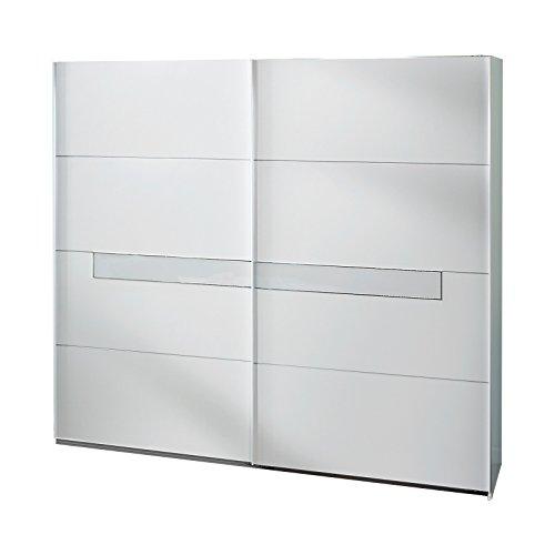 Wimex Kleiderschrank/ Schwebetürenschrank Pamela, (B/H/T) 225 x 210 x 65 cm, Weiß/ Absetzung Glas Weiß und Chrom