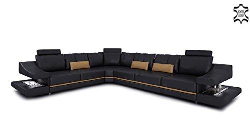 Wohnlandschaft Ledercouch schwarz braun Ecksofa Ledersofa Eckcouch Leder Sofa Couch L-Form mit LED-Licht Beleuchtung Designsofa STUTTGART
