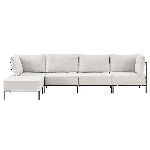 [en.casa] Individuell integrierbares Sofa Sandfarben - 4-Sitzer - Wohnlandschaft - Bestehend aus Verschiedenen Gestellen und Bequemen Polsterkissen - Textil