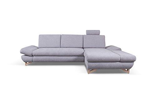 mb-moebel Ecksofa Eckcouch mit Bettkästen mit Schlaffunktion Soft Couch Wohnlandschaft L-Form Polsterecke Merida GRAU (Ecksofa Rechts)