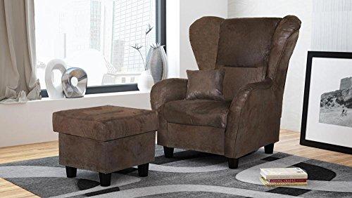 lifestyle4living Ohrensessel mit Hocker Braun im Vintage Look | Der perfekte Sessel für entspannte, lange Fernseh- und Leseabende
