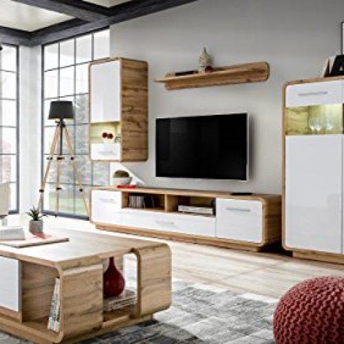 JUSTyou Peene Wohnzimmerset Wohnwand Wohnzimmermöbel Wotan Eiche | Weiß Hochglanz