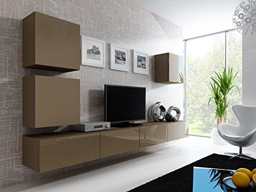 Jadella Wohnwand ' Vigo 22' Hochglanz Hängeschrank Lowboard Cube, Farbe:Latte matt/Latte Hochglanz