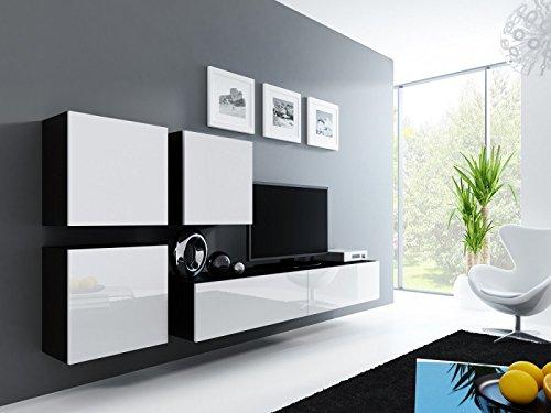 Jadella Wohnwand ' Vigo 23' Hochglanz Hängeschrank Lowboard Cube, Farbe:Schwarz Weiß