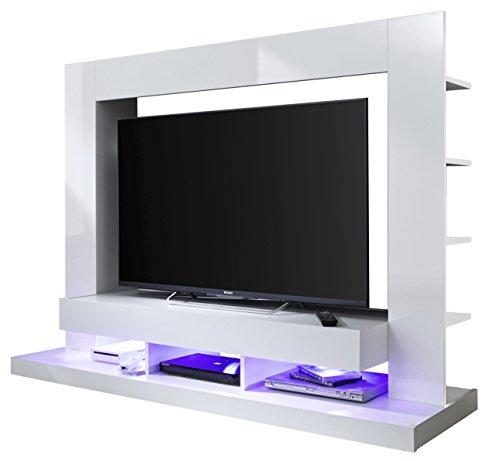 trendteam smart living Wohnzimmer Anbauwand Wohnwand TTX05, 170 x 124 x 46 cm in Weiß Hochglanz mit viel Stauraum
