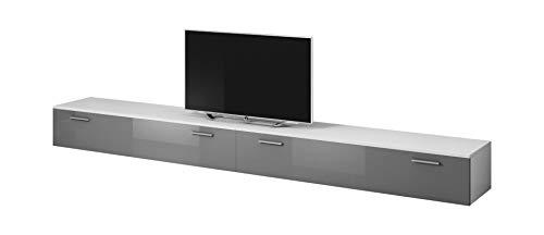 E-Com TV Möbel Lowboard Schrank Ständer Boston Korpus weiß/Front Grau Hochglanz 300 cm