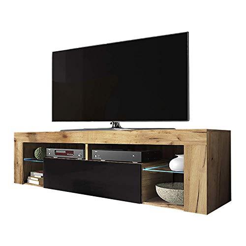 Selsey Hugo Lowboard/TV-Schrank in Holz-Optik mit Klappe und LED-Beleuchting Stehend, Lancaster Eiche/Schwarz Hochglanz, 35 x 140 x 51 cm