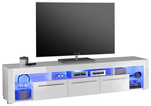 Stella Trading Goal 2 TV Lowboard, Holz, weiß, 200 x 44 x 44 cm