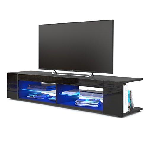 TV Board Lowboard Movie, Korpus in Schwarz matt/Fronten in Schwarz Hochglanz inkl. LED Beleuchtung in Blau