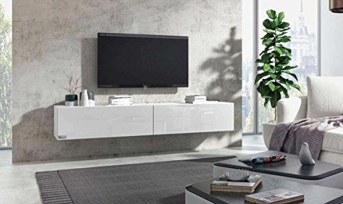 Wuun® TV Board hängend/8 Größen/5 Farben/180cm Matt Weiß- Weiß-Hochglanz/Lowboard Hängeschrank Hängeboard Wohnwand/Hochglanz & Naturtöne/Somero
