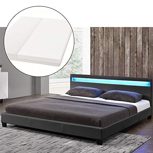 ArtLife LED Polsterbett Paris 140 × 200 cm mit Matratze und Lattenrost - Kunstleder Bezug & Holz Gestell - grau - modern & stabil - Einzelbett Jugendbett