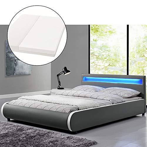 ArtLife Polsterbett Sevilla 140 x 200 cm - Bett mit Matratze, Lattenrost & LED - Holz & Kunstleder - grau - Jugendbett Gästebett Einzelbett