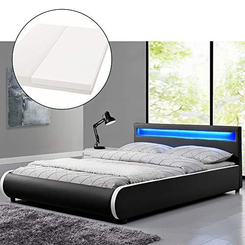 ArtLife Polsterbett Sevilla 180 x 200 cm - Doppelbett mit Matratze, Lattenrost & LED - Holz & Kunstleder - schwarz - Ehebett Kingsize Bett