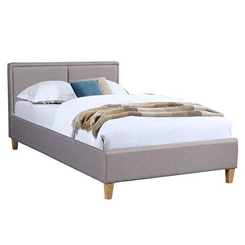 CARO-Möbel Polsterbett Anais Bettgestell Einzelbett 120x200 cm Designbett inklusive Lattenrost, Stoffbezug in grau anthrazit