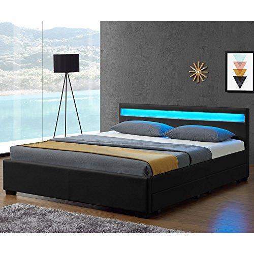 Juskys LED Polsterbett Lyon mit Bettkasten 140 x 200 cm - Bettgestell mit Lattenrost - Kunstleder - schwarz - Jugendbett Jugendzimmer Möbel