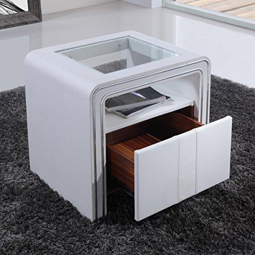 i-flair® - Nachttisch, Nachtkonsole aus hochwertigem Kunstleder - S85 Weiß